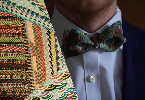 Multicolored Silk Bow Tie for Suits Made in Montreal | Nathon Kong