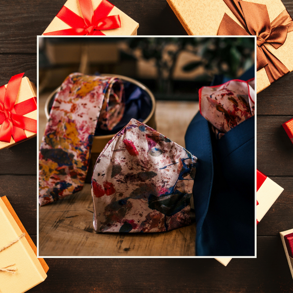 Christmas Gift Set | Pink Silk Necktie, Silk Face Mask, and Silk Pocket Square | Nathon Kong