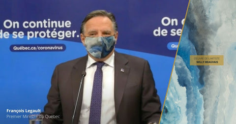 Francois Legault Fashionable Blue Face Mask Made in Quebec | Nathon Kong