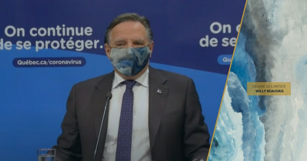 François Legault wear a silk face mask made by the fashion designer Nathon Kong