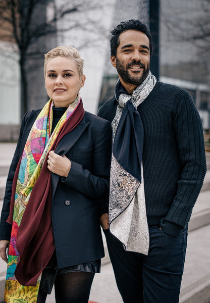 Red and Yellow Winter Scarf with Art Made in Canada | Fashion Designer Nathon Kong