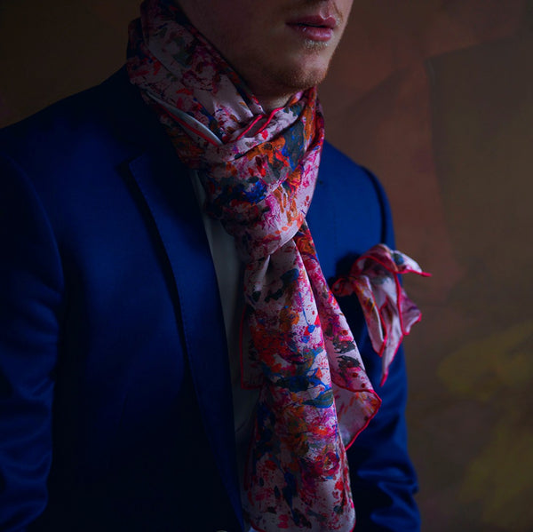 Pink Designer Silk Scarf with Art Made in Canada | Nathon Kong