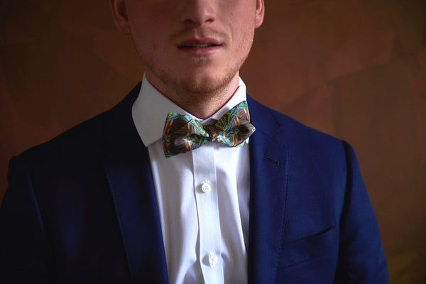 Green and Yellow Silk Bow Ties For Men with Design | Nathon Kong
