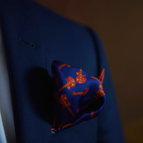 Two Point Fold Blue Silk Pocket Square Made in Québec | Nathon Kong