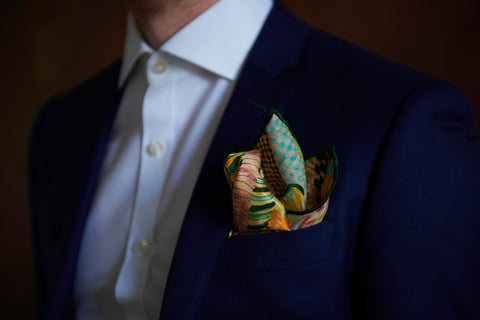 Green Dunaway Fold Silk Pocket Squares with suit | Nathon Kong