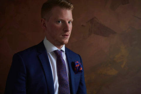 Blue Bespoke Suit and Silk Tie for Men in Montreal | Nathon Kong