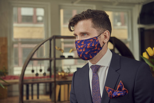 Reusable Blue Silk Face Mask with Unique Designs Made in Canada | Nathon Kong