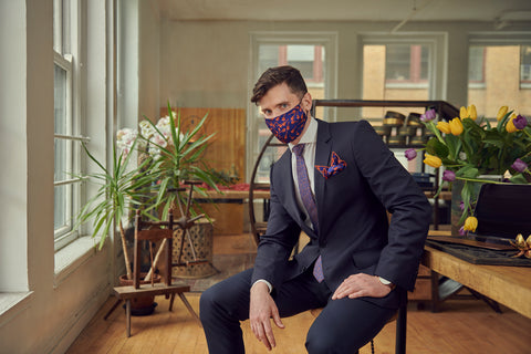 Matching Blue Necktie, Pocket Square, and Protective Silk Face Mask | Nathon Kong