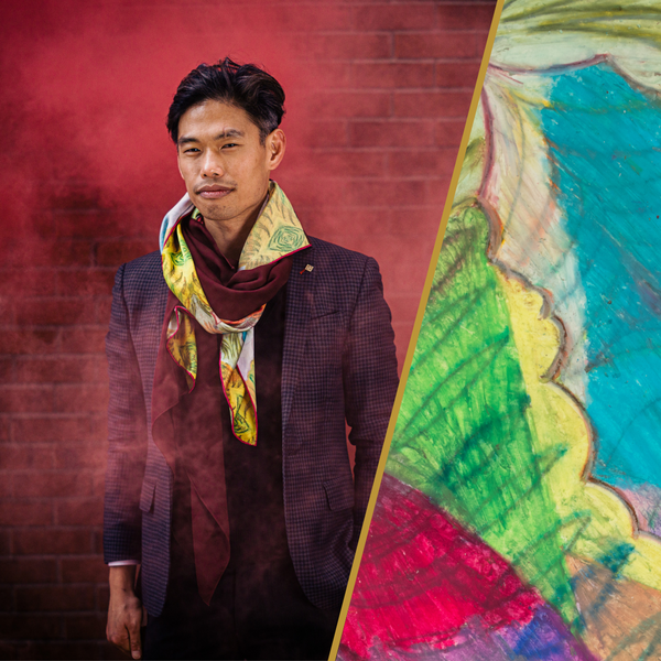 Men's Silk Fashion Scarf with Artwork Made in Canada | Nathon Kong