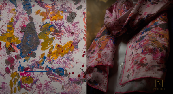 Pink Silk Designer Scarf Incorporating Artwork | Nathon Kong
