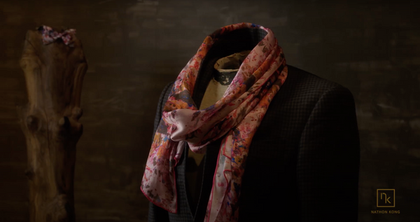 Men's and Women's Pink Silk Scarf Made in Quebec | Nathon Kong
