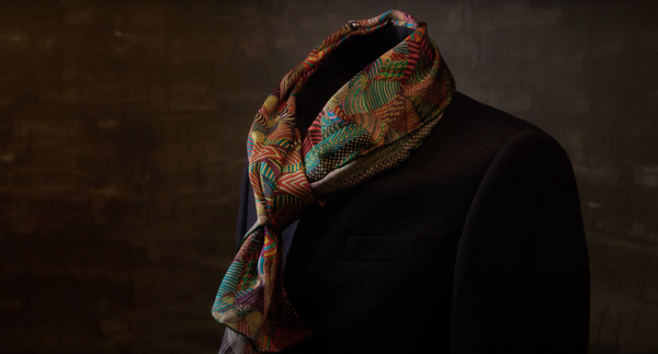 Green Designer Silk Scarf Made in Montreal | Fashion Designer Nathon Kong