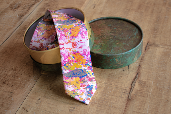 Men's Pink Silk Ties with Unique Silk Art Made in Montreal | Nathon Kong
