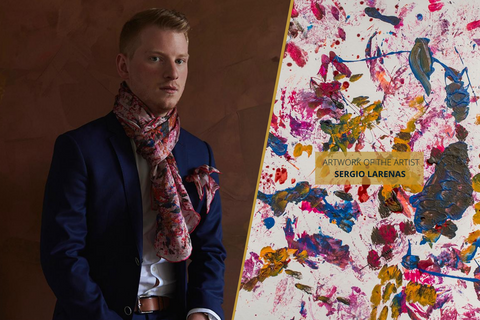 Designer Silk Scarf with Abstract Art Made in Montreal | Nathon Kong