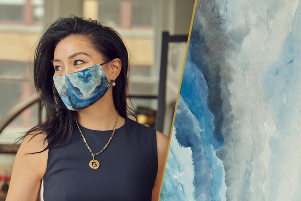Breathable Blue Silk Face Masks With Unique Designs Made in Canada | Nathon Kong