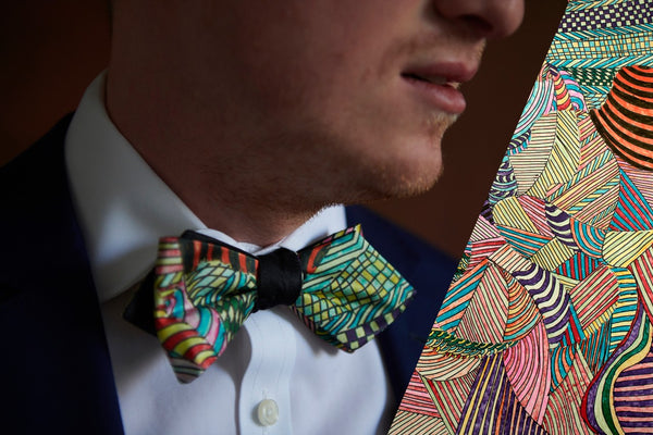 Green Silk Bow Ties with Artistic Patterns Made in Canada | Nathon Kong