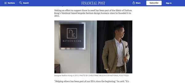 Nathon Kong on Financial Post | Entrepreneur Keeping the Spirit of Giving Alive
