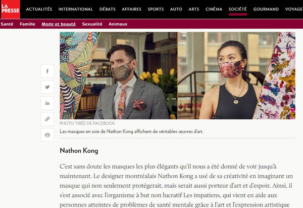 Silk Face Mask from designer Nathon Kong in La Presse | Nathon Kong