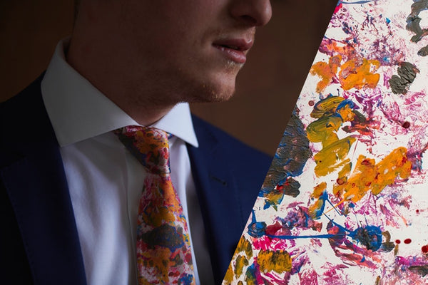 Pink Mulberry Silk Wedding Ties with Abstract Patterns Made in Montreal | Nathon Kong