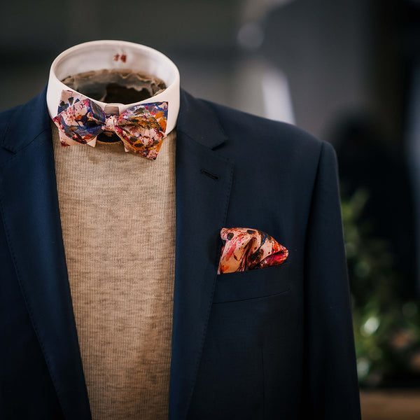 Gift Set - Silk Bow-tie + Silk Pocket Square - S. Larenas collection