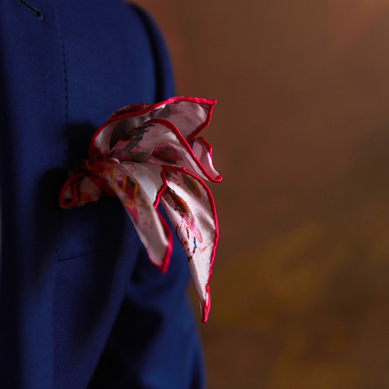 Mulberry Silk Pocket Square | Art by SL | Art to wear 100% Silk Square | Nathon Kong