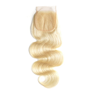 BLONDE CLOSURE BODY WAVE 4 X4