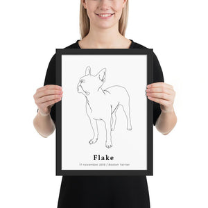 Personlig Plakat af Boston Terrier m. Ramme #2 | ThePupPoster