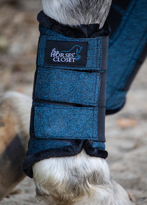 Glitter Sparkly Brushing Dressage Boots Midnight Blue