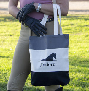 J'adore - Tote Bag Canvas TriColor - Black/ Natural/ Light Gray