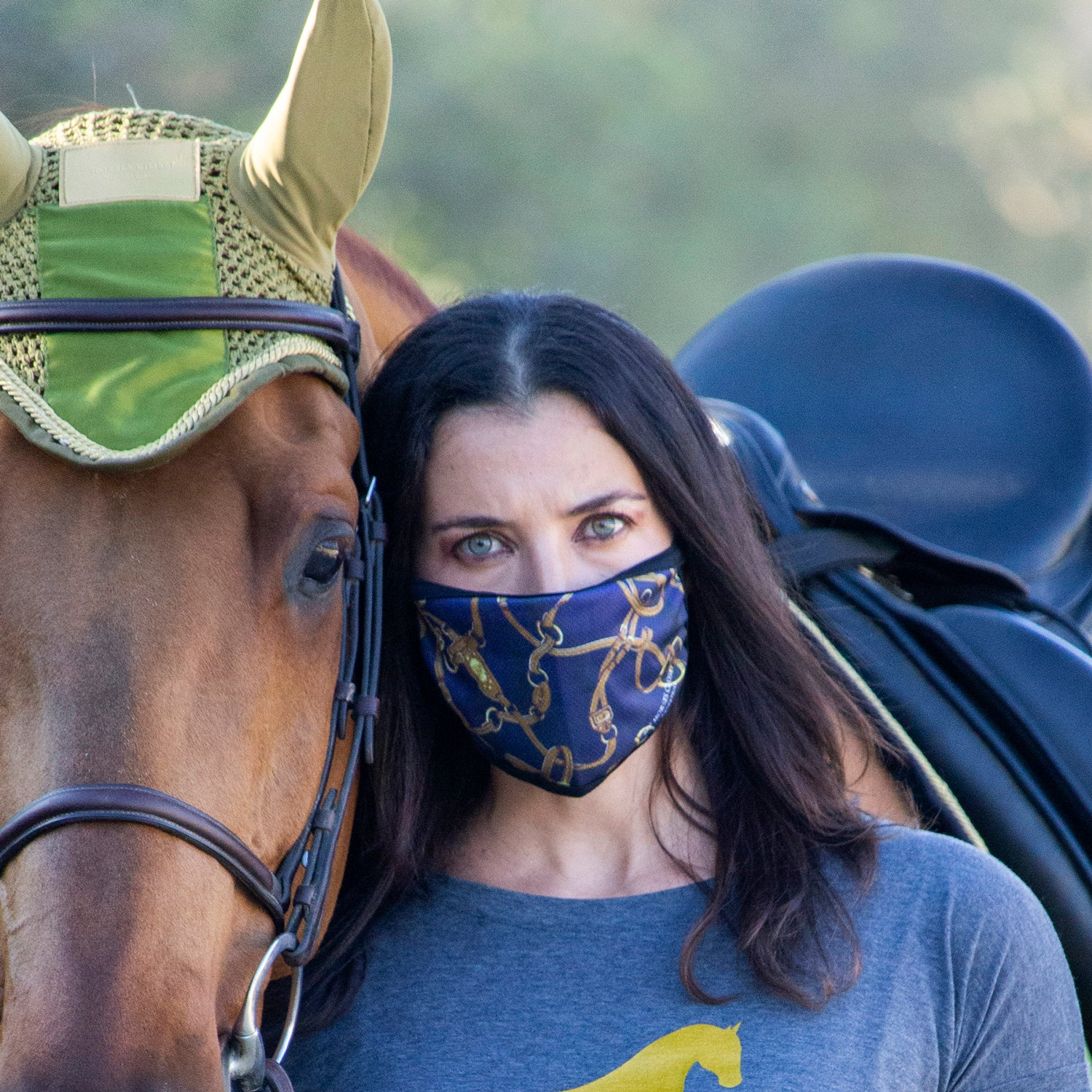 Equestrian Bridle Print Face Mask