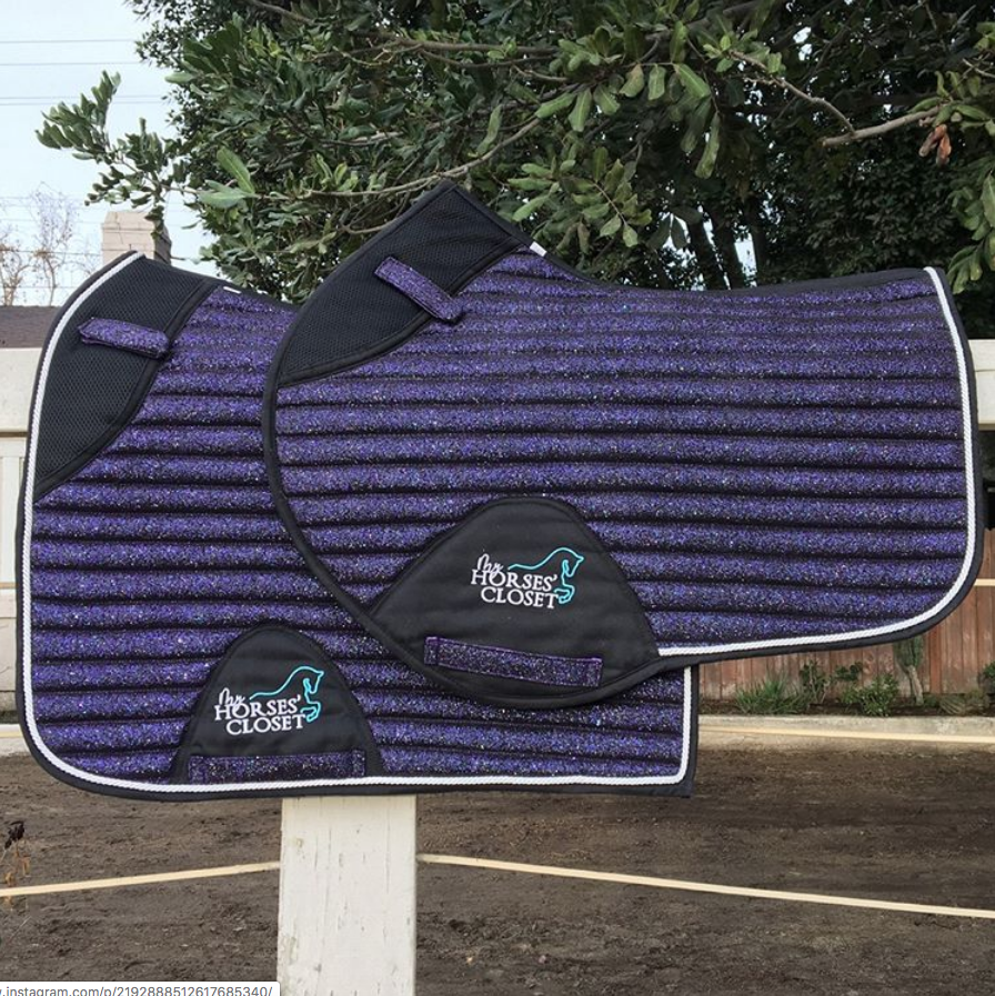 Glitter Sparkly Dressage Saddle Pad Plum Purple