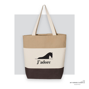 J'adore - Tote Bag Canvas TriColor - Chocolate/ Natural/ Khaki