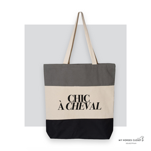 Chic à Cheval - Tote Bag Canvas TriColor - Black/ Natural/ Light Grey