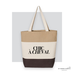 Chic à Cheval - Tote Bag Canvas TriColor - Chocolate/ Natural/ Khaki