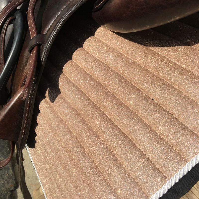 Glitter Sparkly Dressage Saddle Pad Champagne Gold