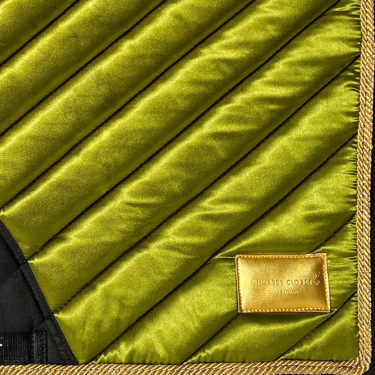🆕 Dressage Saddle Pad Satin Amboise Collection ⚜️ Olive Green