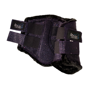 Glitter Sparkly Brushing Dressage Boots Plum Purple