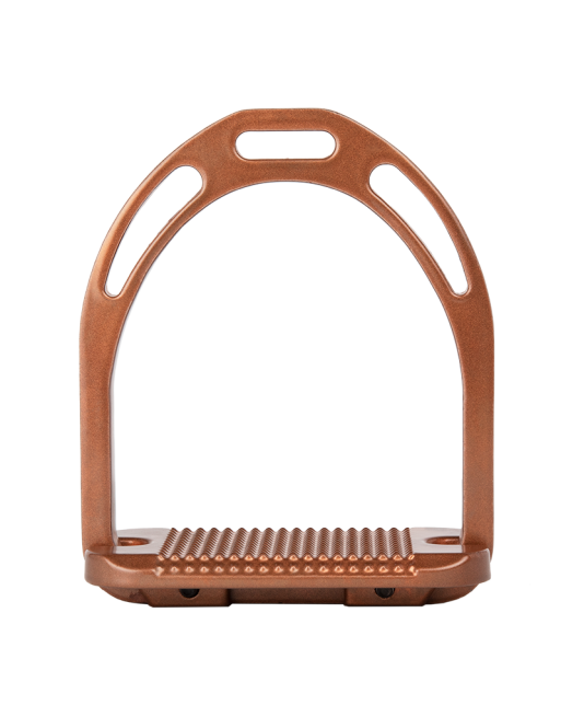 Alu Stirrups with Crystals Copper Brown