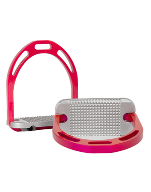 Alu Stirrups Design Set - Fuchsia & Silver Grip