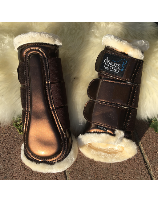 Choco metallic brown Glossy Brushing boots - front or hind - Medium
