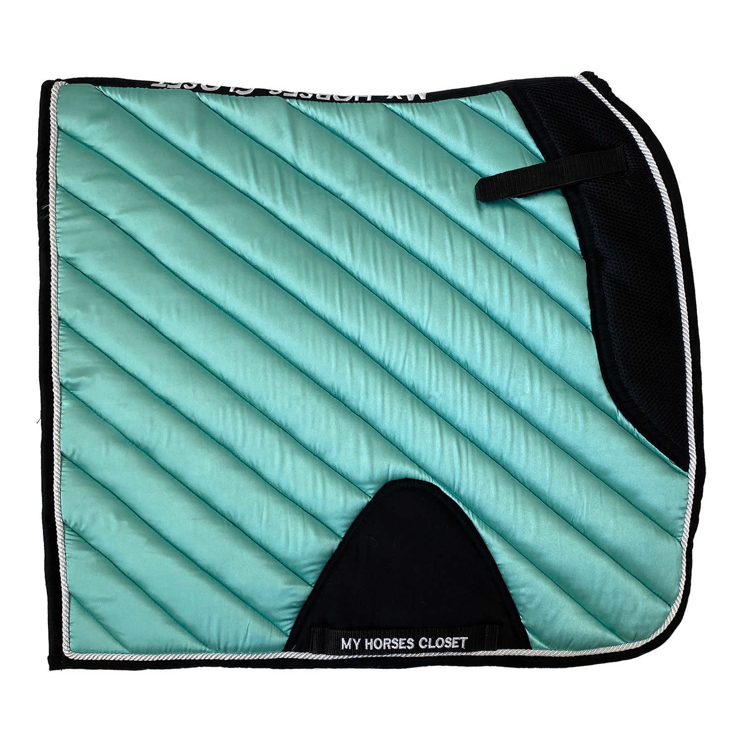 Satin Mesh Dressage Saddle Pad Amboise Seafoam Aqua Blue