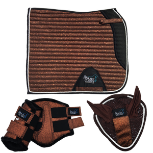 Glitter Sparkly Copper Brown Dressage Matchy Matchy Set