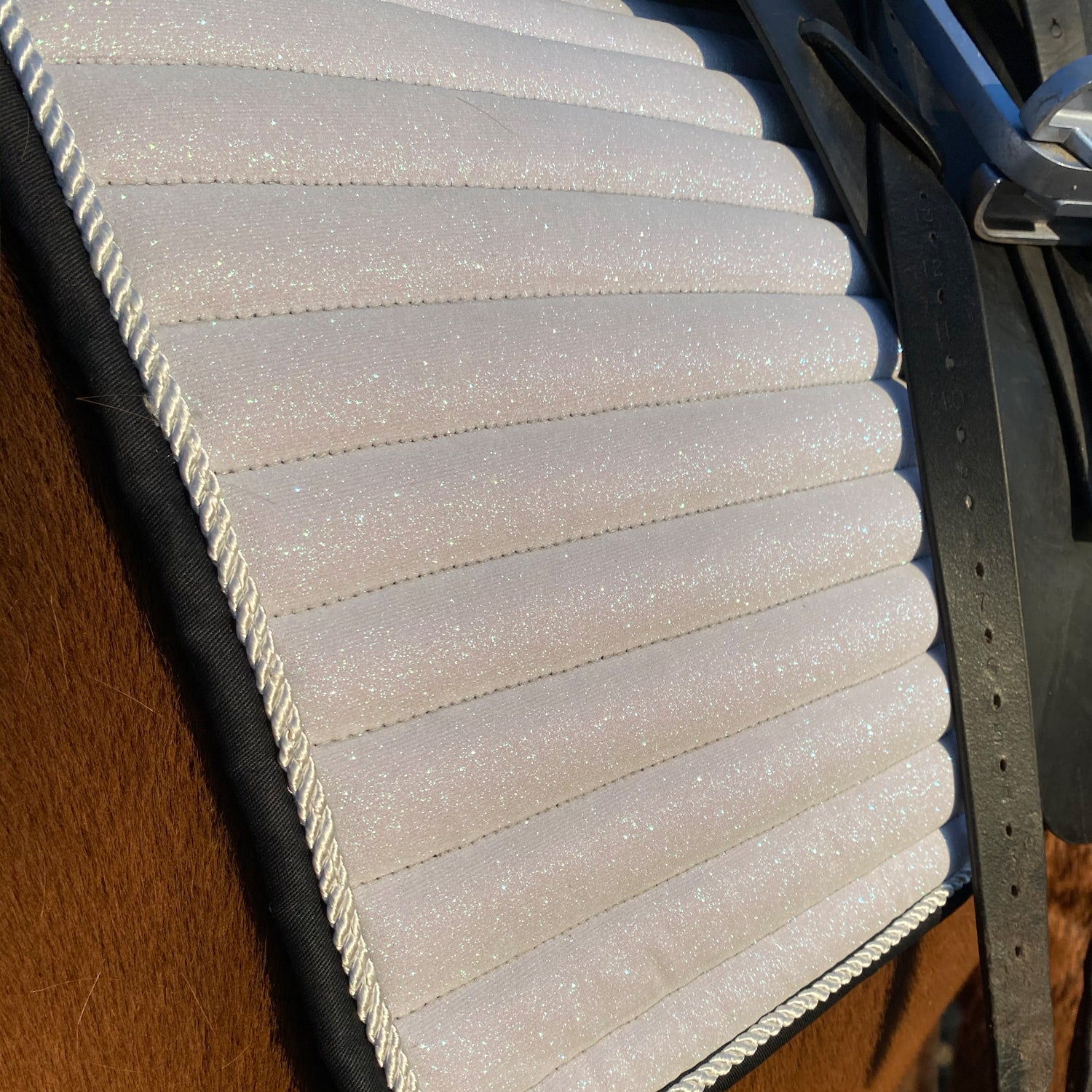 Glitter Mesh Sparkly Dressage Saddle Pad White
