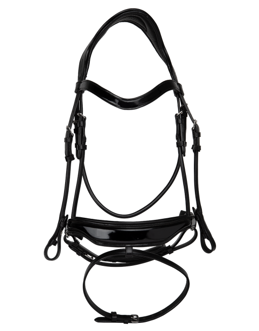 Horse - Black glossy leather anatomical deluxe bridle with round cheekpieces