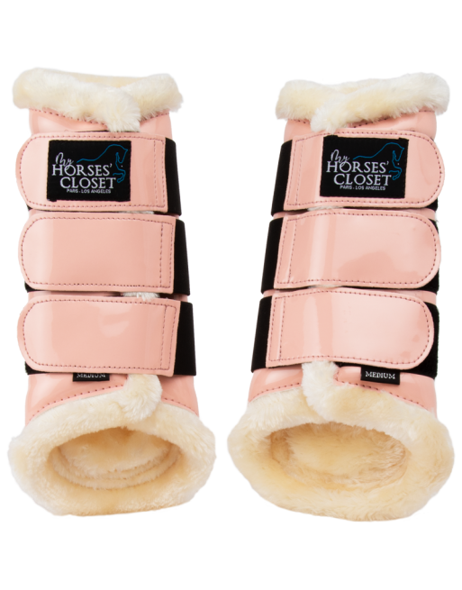 Pink Glossy tendon Brushing boots - front or hind - Medium