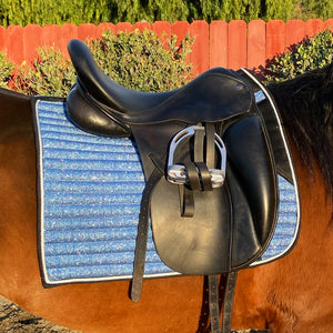 Glitter Mesh Dressage Saddle Pad Sky Blue