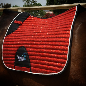 👋 Retiring - Glitter Sparkly Dressage Saddle Pad Bright Red