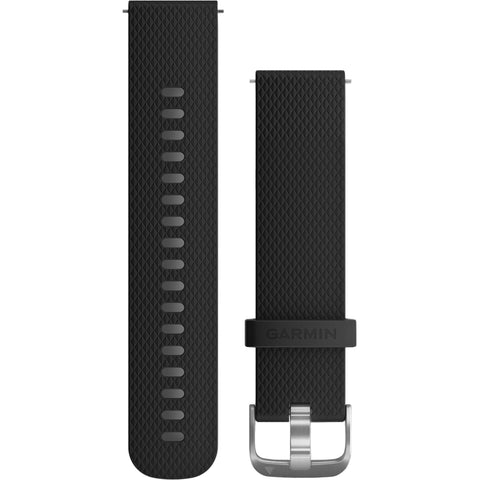 Garmin Quick Release Band 20mm, Black silicone with silver hardware*