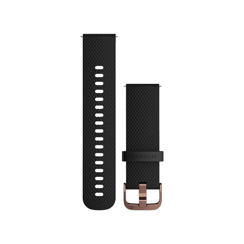 Garmin Quick Release Band 20mm, Black silicone with polished rose-gold hardware, S/M