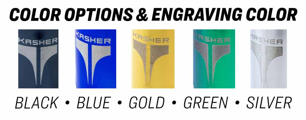 Color options & engraving colors of Kasher lighter tools in colors including black, blue, gold, green, and silver.